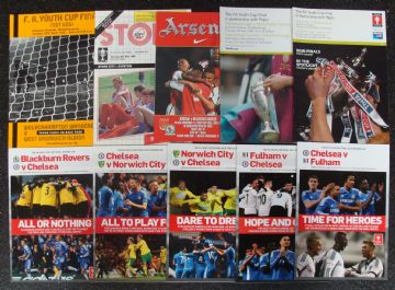 Collection of 10 different FA YOUTH CUP FINAL football programmes